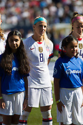 USA midfielder Julie Ertz (8) stands during player introductions before an international friendly against South Korea in Chicago, Sunday, Oct. 6, 2019, in Chicago. USWNT tied the Korea Republic 1-1. (Max Siker/Image of Sport)