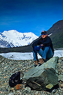 Hiking on Root Glacier, Mt. Blackburn, model released, Wrangell - St. Elias Park, Alaska