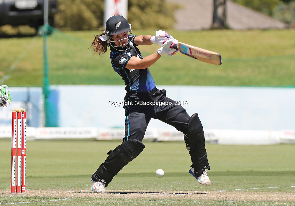 Natalie Dodd of New Zealand bats during the 2016 International ODI Womens cricket match between South Africa and New Zealand at Boland Park, Paarl on 19 October 2016 ©Chris Ricco/BackpagePix