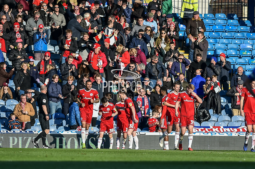 Accrington Stanley Players Celebrate after Accrington Stanley Midfielder, Sean McConville (11) scores a goal to make it 0-1 during the EFL Sky Bet League 1 match between Portsmouth and Accrington Stanley at Fratton Park, Portsmouth, England on 4 May 2019.