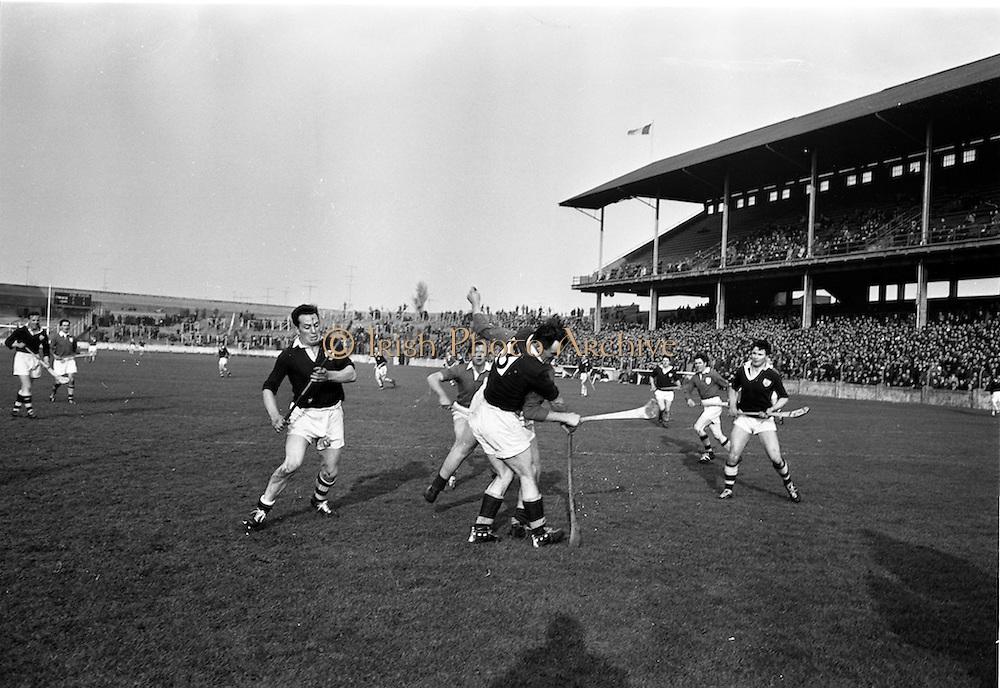24/02/1963<br /> 02/24/1963<br /> 24 February 1963<br /> Railway Cup Semi-Final: Leinster v Connacht at Croke Park, Dublin. <br /> P. Burke (Connacht) seems to be wrestling with E. Wheeler (Leinster) hidden in this tussle near the Connacht goal.