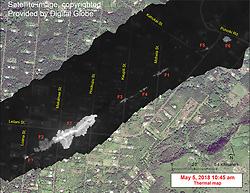 May 5, 2018 - Hawaii, U.S. - This map overlays a georegistered mosaic of thermal images collected during a helicopter overflight of the fissures in Leilani Estates, Island of Hawai'i, at 10:45 a.m. HST on May 5. The base is a copyrighted satellite image (used with permission) provided by Digital Globe. Temperature in the thermal image is displayed as gray-scale values, with the brightest pixels indicating the hottest areas (white shows active breakouts). During the overflight, fissure 7 stands out as the first fissure to produce a small lava flow. When the thermal images were collected, the flow was about 260 m (853 ft) long. The thermal map was constructed by stitching many overlapping oblique thermal images collected by a handheld thermal camera during a helicopter overflight of the flow field. (Credit Image: ? USGS/ZUMA Wire/ZUMAPRESS.com)
