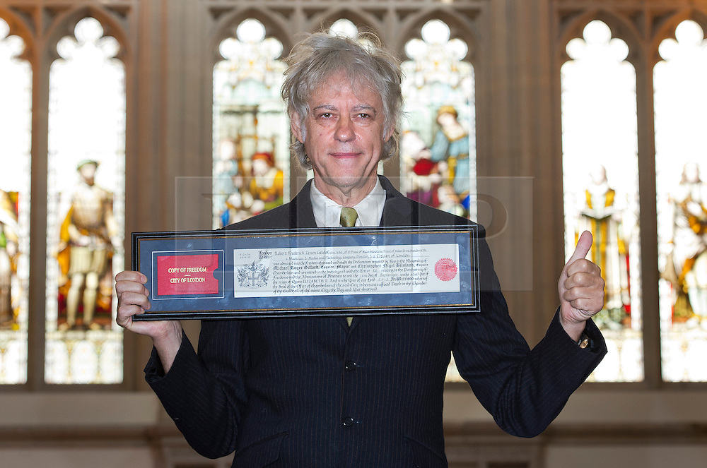 © London News Pictures. 16/09/2013 . London, UK.   Singer and Songwriter SIR BOB GELDOF poses during a photocall after he received the freedom of The City of London, in recognition of his services to the music industry.  Photo credit : Ben Cawthra/LNP