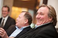 Patrice Monmousseau, CEO und Chef Winemaker von Bouvet-Ladubay praesentiert zur ProWein in Duesseldorf. Frankreichs internationalen Schauspielstar Gérard Depardieu, der zusammen mit dem renommierten Traditionshaus aus Saumur einen hochwertigen Schaumwein von der Loire kreiert hat.