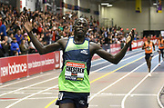 Feb 10, 2018; Boston, Massachussetts, USA; Edward Cheserek (KEN) celebrates after winning the 3,000m in 7:38.74  during the New Balance Indoor Grand Prix at Reggie Lewis Center.