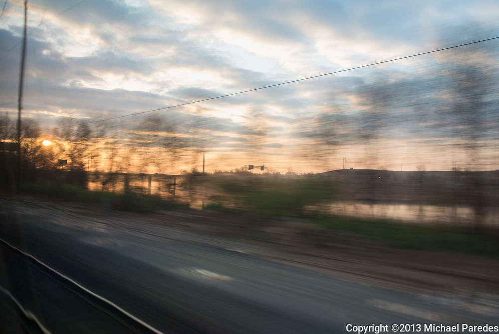 Sunrise aboard Amtrak between Philadelphia and New York
