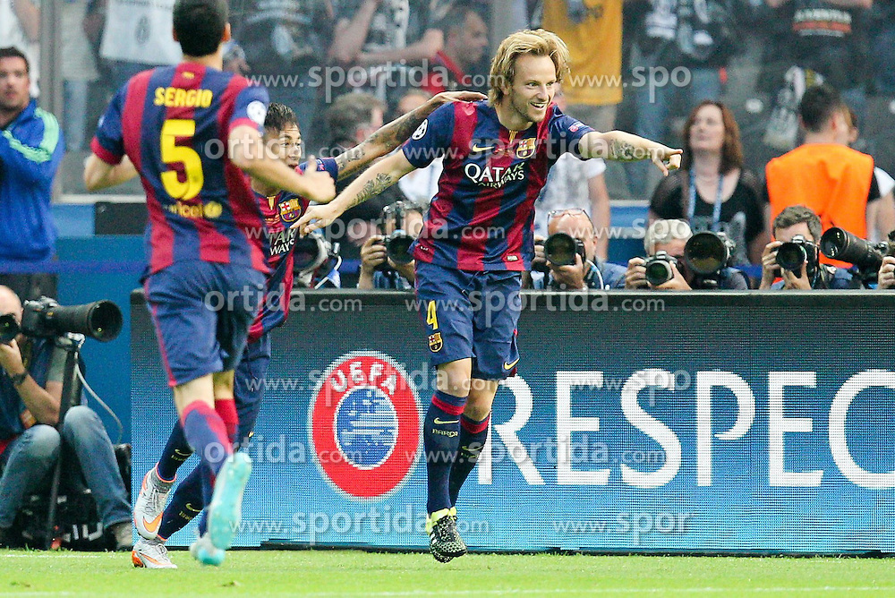06.06.2015, Olympia Stadion, Berlin, GER, UEFA CL, Juventus Turin vs FC Barcelona, Finale, im Bild l-r: Torjubel von Neymar #11 (FC Barcelona), Ivan Rakitic #4 (FC Barcelona) // during the UEFA Champions League final match between Juventus FC and Barcelona FC at the Olympia Stadion in Berlin, Germany on 2015/06/06. EXPA Pictures &copy; 2015, PhotoCredit: EXPA/ Eibner-Pressefoto/ Kolbert<br /> <br /> *****ATTENTION - OUT of GER*****