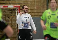 HÅNDBOLD: Mike Jensen (Nordsjælland) jubler efter redning under kampen i Herre Håndbold Ligaen mellem Nordsjælland Håndbold og Ribe-Esbjerg HH den 4. marts 2019 i Frederiksborgcenteret i Hillerød. Foto: Claus Birch.