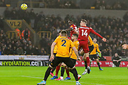 Goal Liverpool midfielder Jordan Henderson (14) scores a goal 0-1 during the Premier League match between Wolverhampton Wanderers and Liverpool at Molineux, Wolverhampton, England on 23 January 2020.