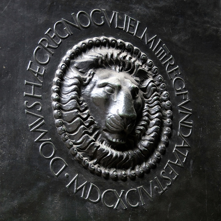 Logo on steel door of Bank of England