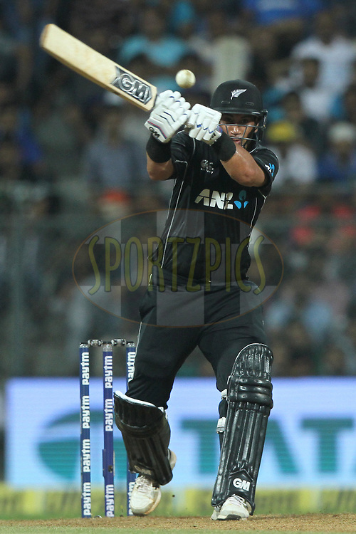 Ross Taylor of New Zealand bats during the 1st One Day International match between India and New Zealand held at the Wankhede Stadium in Mumbai on the 22nd October 2017<br /> <br /> Photo by Deepak Malik / BCCI / SPORTZPICS