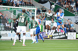 Bristol Rovers' Ryan Brunt heads the ball towards goal  - Photo mandatory by-line: Dougie Allward/JMP - Tel: Mobile: 07966 386802 07/09/2013 - SPORT - FOOTBALL -  Home Park - Plymouth - Plymouth Argyle V Bristol Rovers - Sky Bet League Two