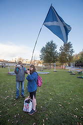 The Scottish Independence camp (Indy Camp) has been evicted from the grounds of the Scottish Parliament.<br /> Pictured: Protestors recording video to social media of eviction