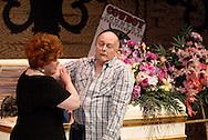 Debra Kent (left) and Blake Senseman during a dress rehearsal of Sordid Lives at the Dayton Theatre Guild in Dayton, Thursday, June 10, 2010.