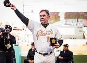 SAN FRANCISCO, CA - APRIL 18: Manger of the San Francisco Giants, Bruce Bochy #15 acknowledges the crowd upon receiving his San Francisco Giants 2014 World Series ring during the San Francisco Giants World Series ring ceremony at AT&T Park on Saturday, April 18 2015 in San Francisco, California. Photo by Jean Fruth