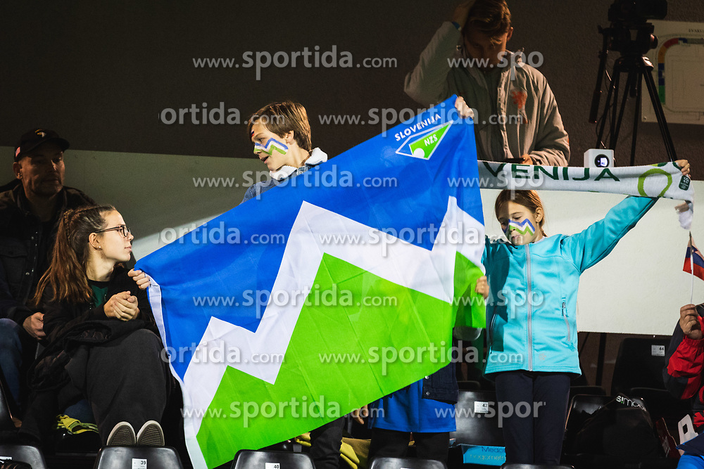 Boy waeing slovenian flag before football match between Slovenia and Nederland in qualifying Round of Woman's qualifying for EURO 2021, on October 5, 2019 in Mestni stadion Fazanerija, Murska Sobota, Slovenia. Photo by Blaž Weindorfer / Sportida