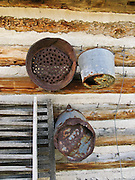 "Old buckets hang on a late 1800s restored frontier log cabin in Nevada City, Montana, USA. Nevada City was a booming placer gold mining camp from 1863-1876, but quickly declined into a virtual ghost town. This fascinating town inspires you to imagination what life must have been like in early Montana when gold was discovered at nearby Alder Gulch. More than 90 buildings from across Montana have been gathered for preservation at Nevada City, mostly owned by the people of the State of Montana, and managed by the Montana Heritage Commission. In 2001, the excellent PBS television series ""Frontier House"" used one of the buildings and its furnishings to train families in re-creating pioneer life. A miner's court trial and hanging of George Ives in the main street of Nevada City was the catalyst for forming the Vigilantes, a group of citizens famous for taking justice into their own hands in 1863-1864. Directions: go 27 miles southeast of Twin Bridges, Montana on Highway 287."