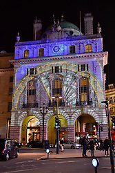 "© Licensed to London News Pictures. 17/01/2018. LONDON, UK.  ""Voyage"" by Camille Gross and Leslie Epzstein is projected onto the Hotel Cafe Royal on Regent Street.  Preview of Lumiere London, the capital's largest arts festival commissioned by The Mayor of London and produced by Artichoke.  Light installations by leading artists have been set up, both north and south of the river for the public to view 18-21 January.   Photo credit: Stephen Chung/LNP"