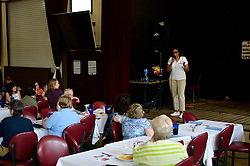 Tanzie Youngblood speaks to campaign volunteers at a Get Out To Vote event at Villa Fazzolari in Buena, NJ, on May 26, 2018.