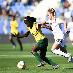 Ode Fulutudilu of South Africa and Giulia Gwinn of Germany during the Women's World Cup match between Germany and South Africa at Stade de la Mosson on June 17, 2019 in Montpellier, France. (Photo by Alexandre Dimou/Icon Sport)