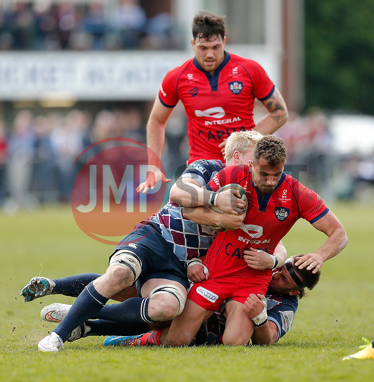Bristol Rugby Full Back Jack Wallace is tackled by Rotherham Titans Number 8 Ben Morris and Prop Mark Tampin - Photo mandatory by-line: Rogan Thomson/JMP - 07966 386802 - 10/05/2015 - SPORT - RUGBY UNION - Abbeydale Park, Sheffield - Rotherham Titans v Bristol Rugby - Greene King IPA Championship Play Off Semi Final Second Leg.