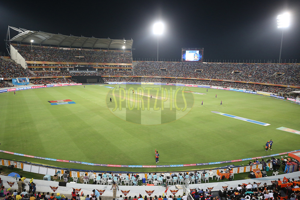 A general view during match 42 of the Vivo IPL 2016 (Indian Premier League ) between the Sunrisers Hyderabad and the Delhi Daredevils held at the Rajiv Gandhi Intl. Cricket Stadium, Hyderabad on the 12th May 2016<br /> <br /> Photo by Faheem Hussain / IPL/ SPORTZPICS
