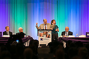 """Actor Henry Winkler, most known for portraying Arthur Fonzarelli, (or """"The Fonz"""" or """"Fonzie"""") on Happy Days, speaks at Lifespan Celebration of Aging luncheon at the Rochester Riverside Convention Center on Thursday, March 24, 2016."""