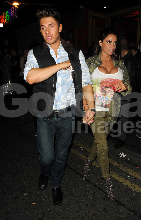 Model Katie Price, leaving Madam JoJo's with gay best friend Scott Ashley after partying at the Shadow Lounge and singing inside JoJo's in London, UK. 07/11/2012<br />