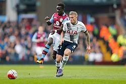 Idrissa Gueye of Aston Villa is challenged by Toby Alderweireld of Tottenham Hotspur - Mandatory byline: Rogan Thomson/JMP - 13/03/2016 - FOOTBALL - Villa Park Stadium - Birmingham, England - Aston Villa v Tottenham Hotspur - Barclays Premier League.