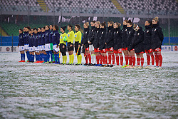 CESENA, ITALY - Tuesday, January 22, 2019: Wales and Italy players line-up before the International Friendly between Italy and Wales at the Stadio Dino Manuzzi. (Pic by David Rawcliffe/Propaganda)