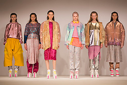© Licensed to London News Pictures. 31/05/2014. London, England. Collection by Naomi Valentine from the University of Salford. Graduate Fashion Week 2014, Runway Show at the Old Truman Brewery in London, United Kingdom. Photo credit: Bettina Strenske/LNP