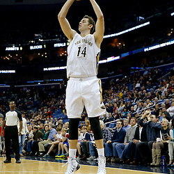 Dec 11, 2013; New Orleans, LA, USA; New Orleans Pelicans center Jason Smith (14) against the Detroit Pistons during the first quarter at New Orleans Arena. Mandatory Credit: Derick E. Hingle-USA TODAY Sports