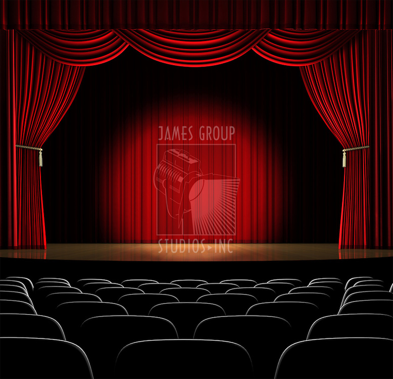 Theatre stage with red curtain and spotlight on the stage