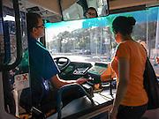Interior of a public bus Israel, Haifa