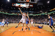 Feb 8, 2016; Phoenix, AZ, USA; Phoenix Suns forward Mirza Teletovic (35) drives the ball against Oklahoma City Thunder forward Nick Collison (4) at Talking Stick Resort Arena.  The Oklahoma City Thunder won 122- 106.  Mandatory Credit: Jennifer Stewart-USA TODAY Sports