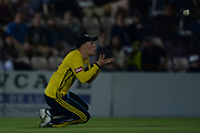 Tom Alsop of Hampshire takes a catch to dismiss James Fuller during the Vitality T20 Blast South Group match between Hampshire County Cricket Club and Middlesex County Cricket Club at the Ageas Bowl, Southampton, United Kingdom on 20 July 2018. Picture by Dave Vokes.