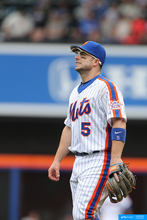 NEW YORK, NEW YORK - May 22:  David Wright #5 of the New York Mets after making an error at third base during the Milwaukee Brewers Vs New York Mets regular season MLB game at Citi Field on May 22 2016 in New York City. (Photo by Tim Clayton/Corbis via Getty Images)