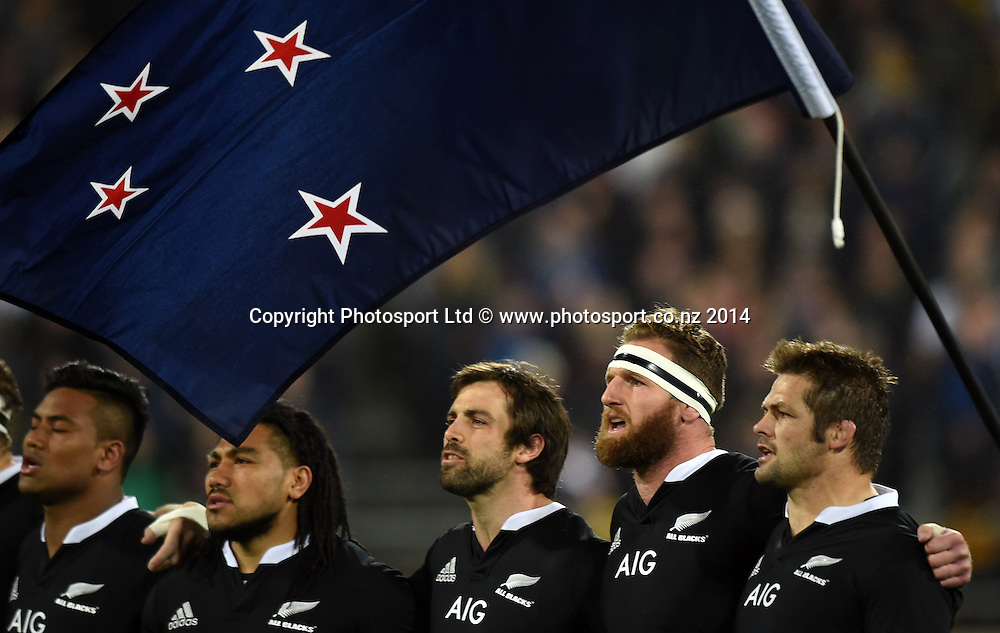 The New Zealand All Blacks line up for the National Anthem. New Zealand All Blacks versus South Africa Springboks. The Rugby Championship. Rugby Union Test Match. Wellington. New Zealand. Saturday 13 September 2014. Photo: Andrew Cornaga/www.Photosport.co.nz