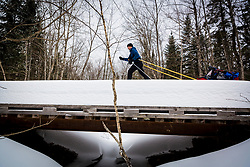 A cross country skier crosses a bridge on a trail in Maine's Katahdin Woods and Waters National Monument.