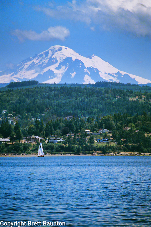 Mt. Baker above Bellingham Bay, Sailing