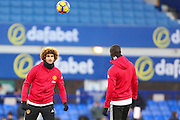 Marouane Fellaini Midfielder of Manchester United warms up before the Premier League match between Everton and Manchester United at Goodison Park, Liverpool, England on 4 December 2016. Photo by Simon Brady.