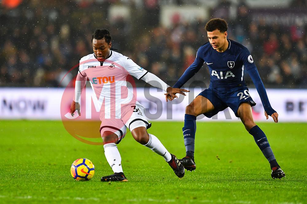 Dele Alli of Tottenham Hotspur battles with Renato Sanches of Swansea City - Mandatory by-line: Craig Thomas/JMP - 02/01/2018 - FOOTBALL - Liberty Stadium - Swansea, England - Swansea City v Tottenham Hotspur - Premier League