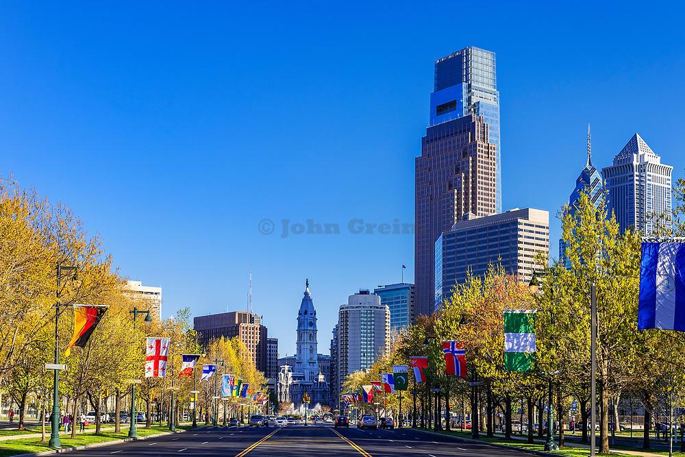 Franklin Parkway, Downtown Philadelphia, Pennsylvania, USA.