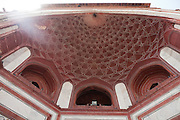 A decorated half-dome awaits visitors entering the Great Gate towards the Taj Mahal complex, in Agra.