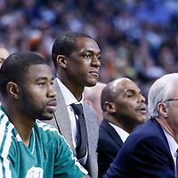 28 April 2013: Boston Celtics point guard Rajon Rondo (9) is seen on the bench during Boston Celtics 97-90 overtime victory over the New York Knicks during Game Four of the Eastern Conference Quarterfinals of the 2013 NBA Playoffs at the TD Garden, Boston, Massachusetts, USA.