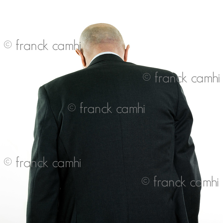 studio portrait isolated on white background of a man senior back
