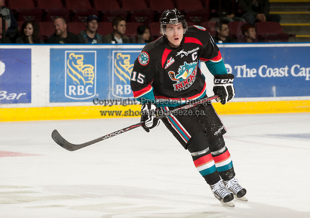 KELOWNA, CANADA - OCTOBER 18:  Colton Sissons #15 of the Kelowna Rockets skates on the ice as the Prince George Cougars visit the Kelowna Rockets on October 18, 2012 at Prospera Place in Kelowna, British Columbia, Canada (Photo by Marissa Baecker/Shoot the Breeze) *** Local Caption ***
