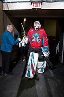 KELOWNA, CANADA - MARCH 16:  Roman Basran #30 of the Kelowna Rockets walks to the ice during second period against the Vancouver Giants on March 16, 2019 at Prospera Place in Kelowna, British Columbia, Canada.  (Photo by Marissa Baecker/Shoot the Breeze)