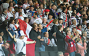 Milton Keynes, Great Britain,    French Suppoters in the crowd, at the Pool D Game, France vs Canada.  2015 Rugby World Cup, Venue, StadiumMK, Milton Keynes, ENGLAND.  Thursday  01/10/2015<br /> Mandatory Credit; Peter Spurrier/Intersport-images]