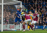 Football - 2019 / 2020 Premier League - Chelsea vs. Burnley<br /> <br /> Jeff Hendrick (Burnley FC) heads home an easy chance before VAR rules it out for offside at Stamford Bridge <br /> <br /> COLORSPORT/DANIEL BEARHAM